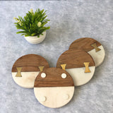 Avery Marble & Wood Coasters (Set of 4)