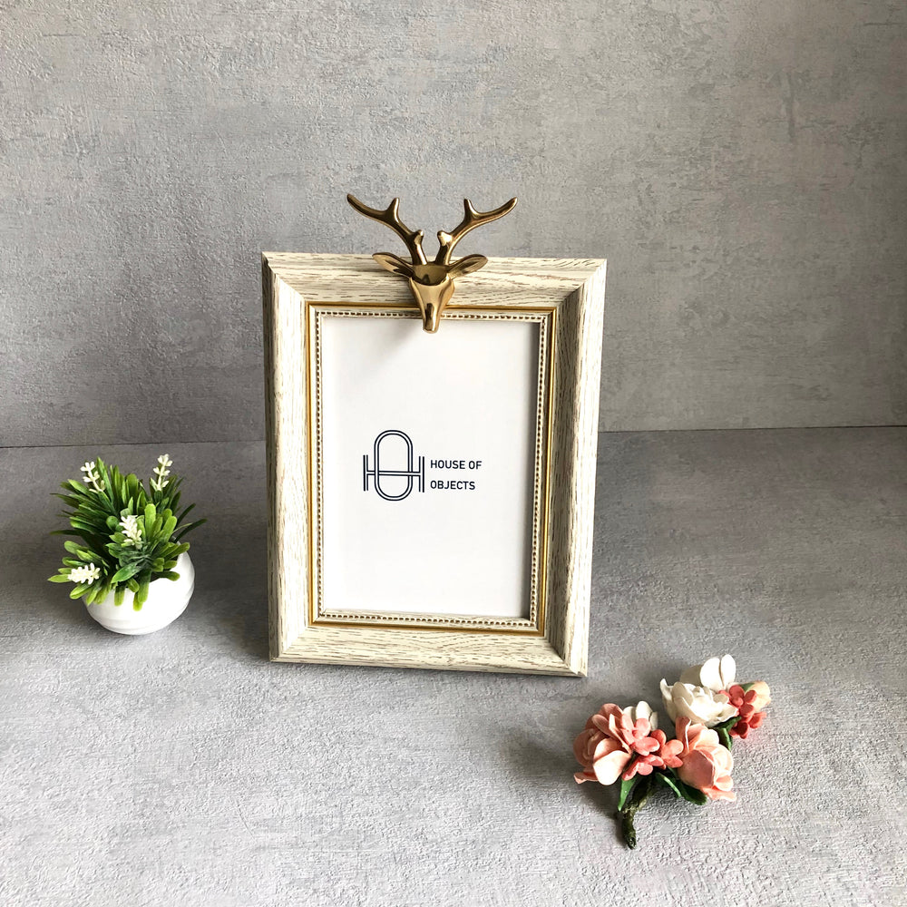 Celestial Reindeer White and Gold Photo Frame