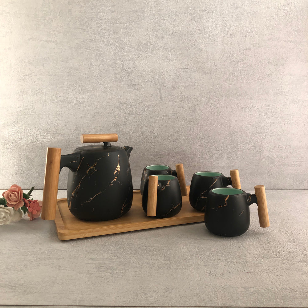 Ella Black Marble Patterned Ceramic Tea Set