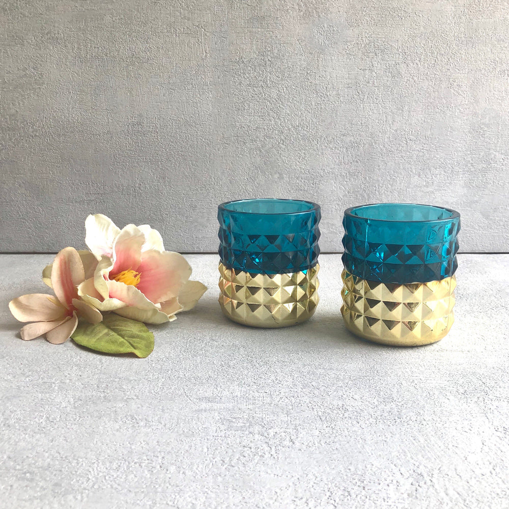 Massimo Blue and Gold Candleholders (Set of 2)
