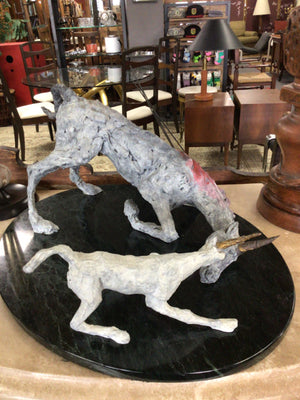 Unsigned Unicorn Tragedy Sculpture