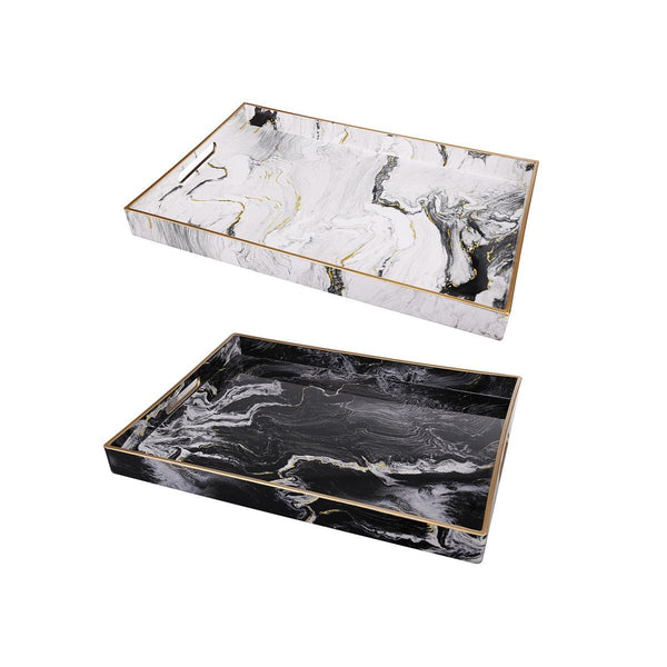 S/2 QUINN RECTANGULAR TRAYS, BLACK & WHITE