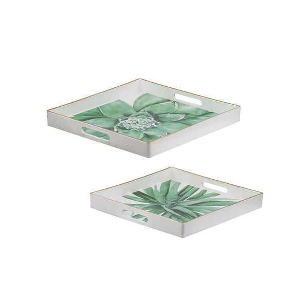 GREEN AND WHITE BOTANICAL SQUARE TRAYS S/2