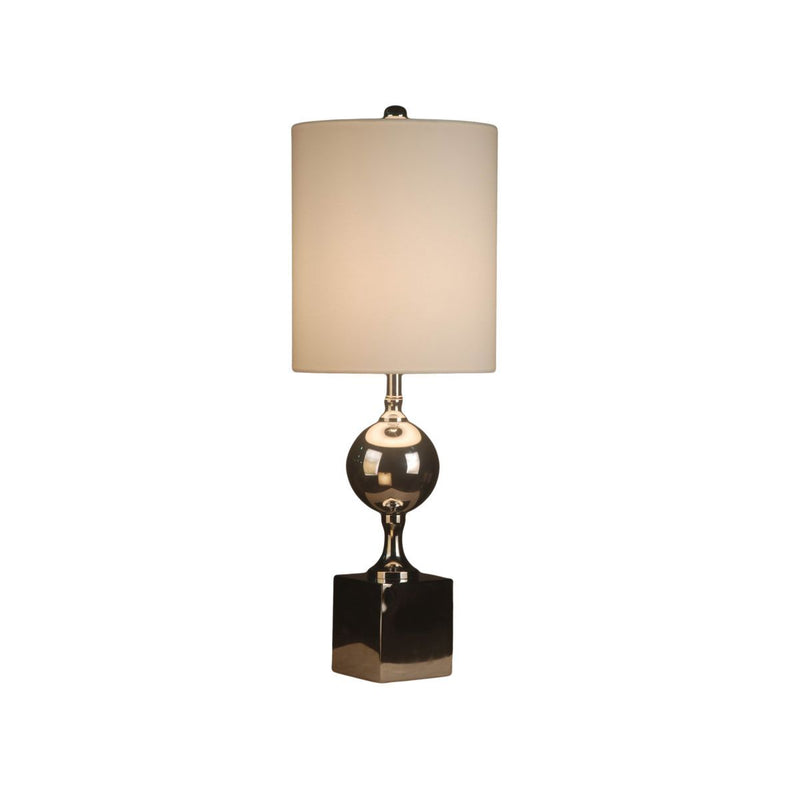 METAL BASE TABLE LAMP WITH BIG SQUARE BASE. CHROME PLATED METAL FINISH