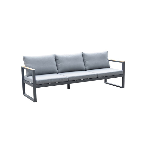 ALU SOFA, THREE SEATERS, WITH TWO TEAKARMRESTS