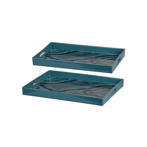 EFFRA RECTANGULAR TRAYS BLUE MARBLED S/2