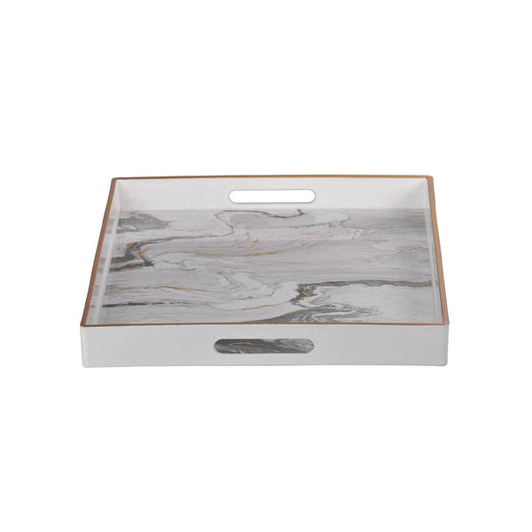 EFFRA RECTANGULAR TRAYS WHITE MARBLED S/2