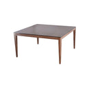 SQUARE DINING TABLE  1400*1400*760MM GLASS PRINT WITH THE RUST COLOR TOP STEEL LEG WITH WALNUT COLOR