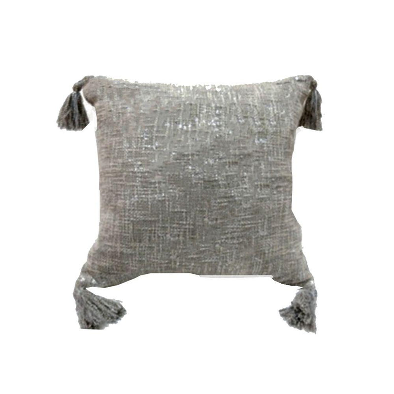 COTTON SLUB WOVEN METALLIC FOIL PRINTED CUSHION WITH TASSELS ON ALL FOUR ENDS 50C50