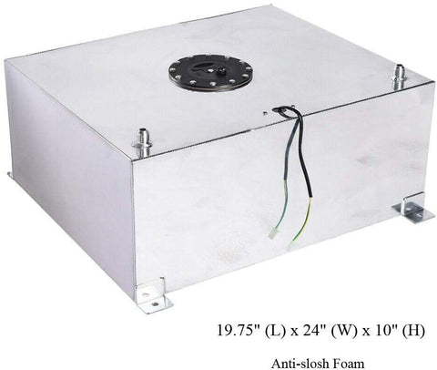BJ 14234-20 Gallon(80L) Fuel Cell Gas Tank Polished Aluminum Drift Strip Racing with Level Sender