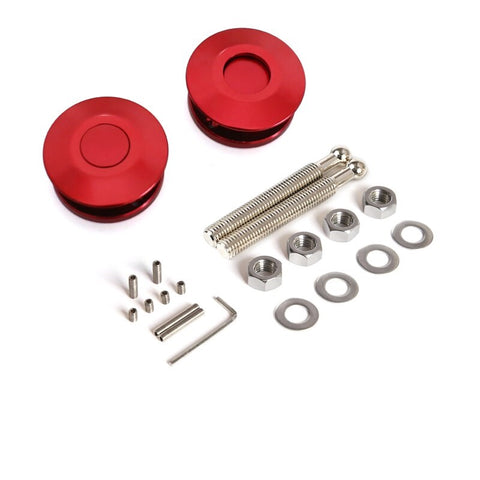 BJ 14604-Universal Push Button Billet Mini Hood Pins Lock RED