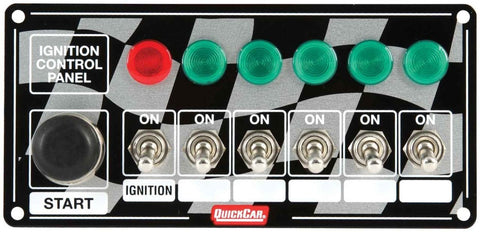 BJ 370010-Quickcar 50-166 Flag Plate, 6 Switches & 1 Button w/ Lights