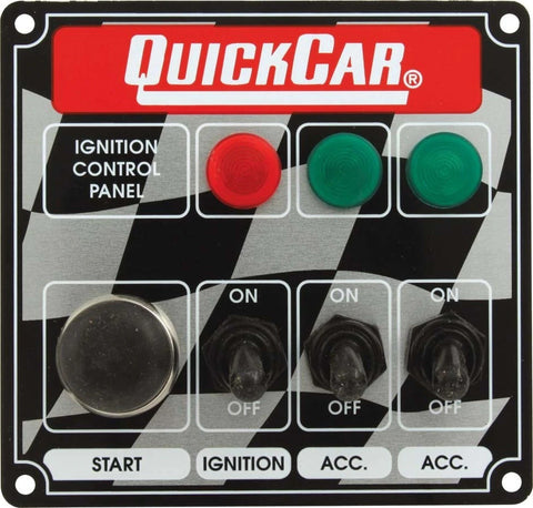 BJ 370035-Quickcar 50-025 Flag Plate, 3 Switches & 1 Button w/ Lights