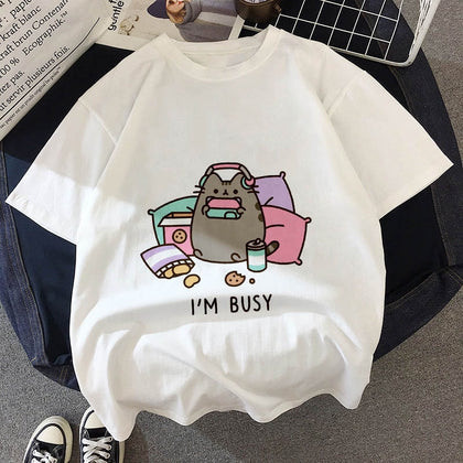 Kawaii Fat Cat Hipster T-Shirt