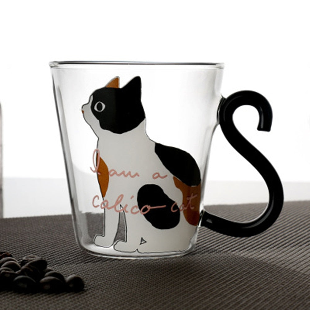 300ML Cute Creative Cats Printed Glass