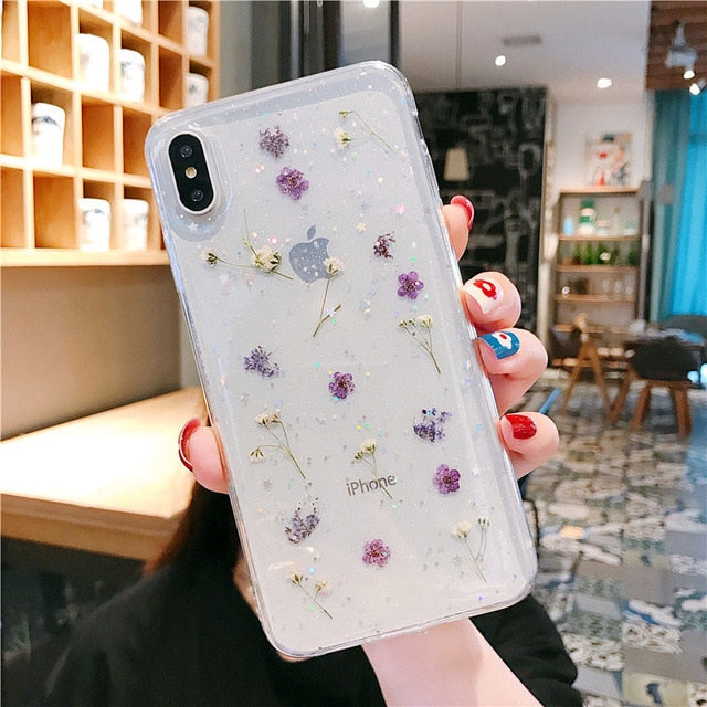 Real Dry Flower Glitter Clear Case For iPhone X
