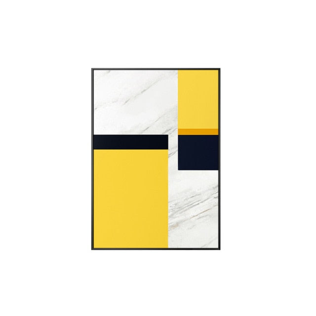 Abstract Yellow n White Canvas Painting