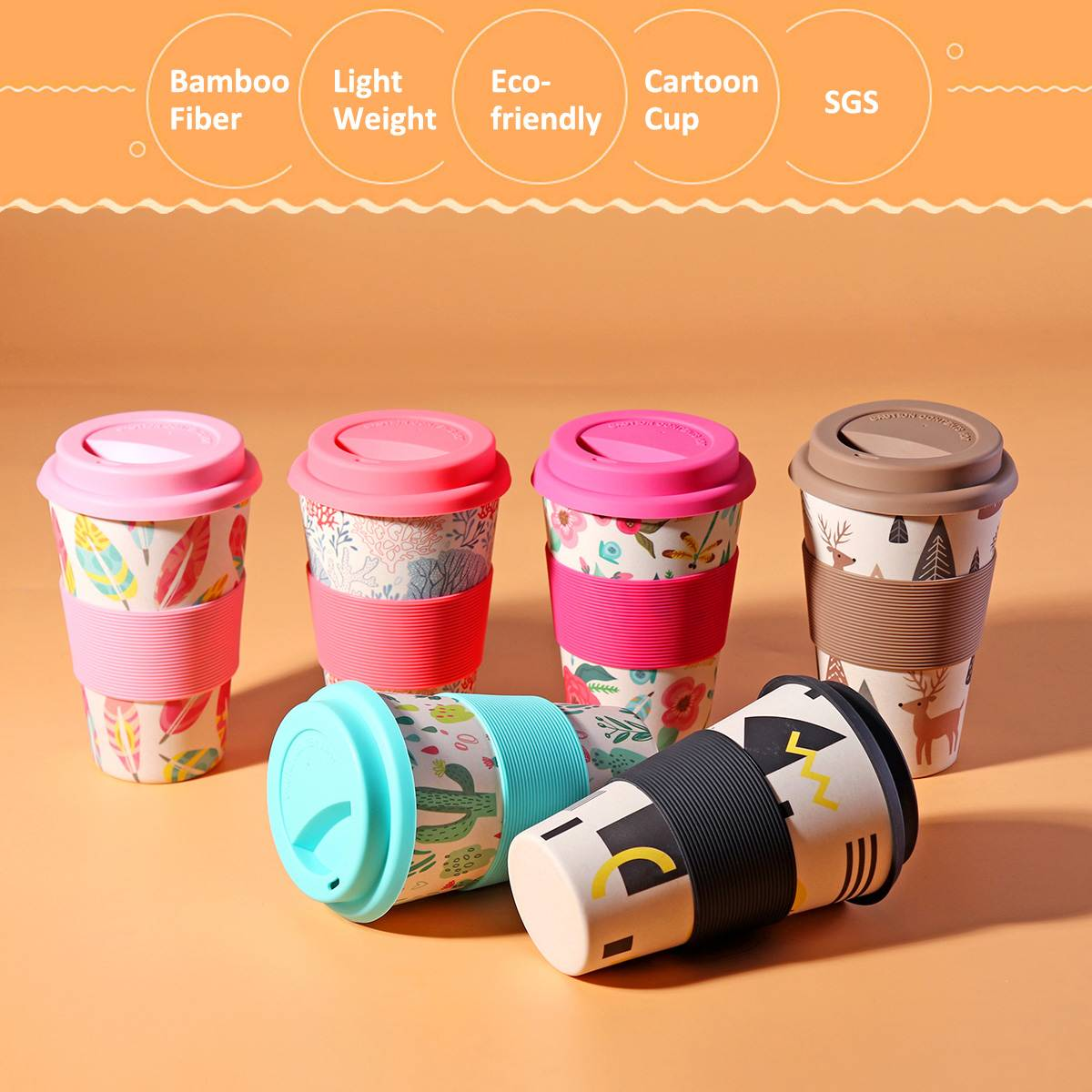400ml Portable Reusable Bamboo Fiber Silicone Cups