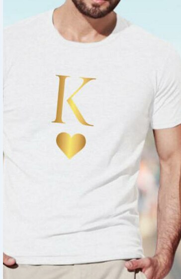 King Queen Letter Heart Print Couple T Shirt Lovers Casual Tshirt Short Sleeve O Neck Loose Women Tee Tops Camisetas Mujer