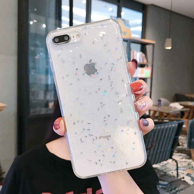 Lovebay Glitter Bling Stars Moon Phone Case For iPhone