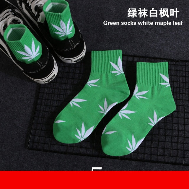 1 Pair Chaussette Style Weed Ankle Socks