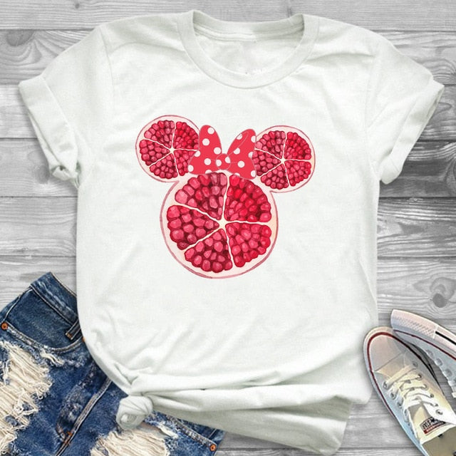 Flowers at Minnie Mouse's Ear Print T-shirt