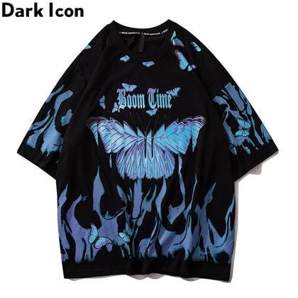 Dark Icon Flame Butterfly Street Fashon Men'sT-shirt