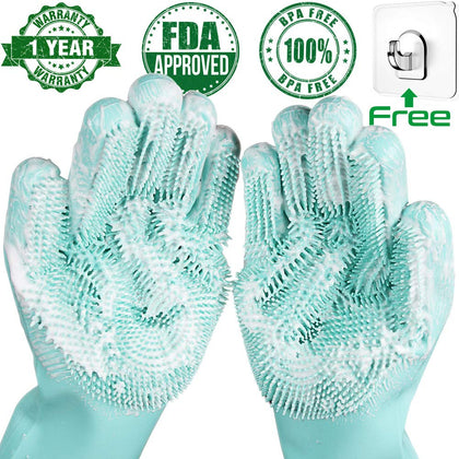 Silicone Dishwashing Scrubber Rubber Scrub Gloves