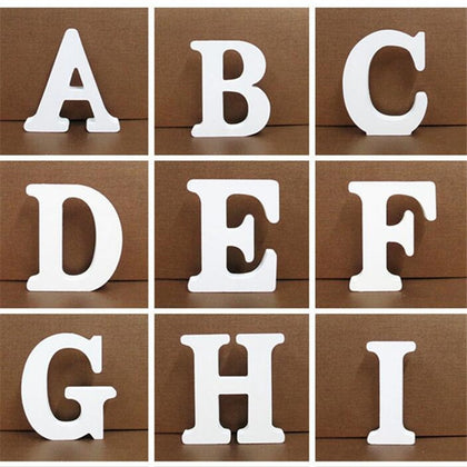 1pc 10CMX10CM White Wooden Letters