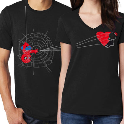 Spider Web Spider Man Couple T-Shirts