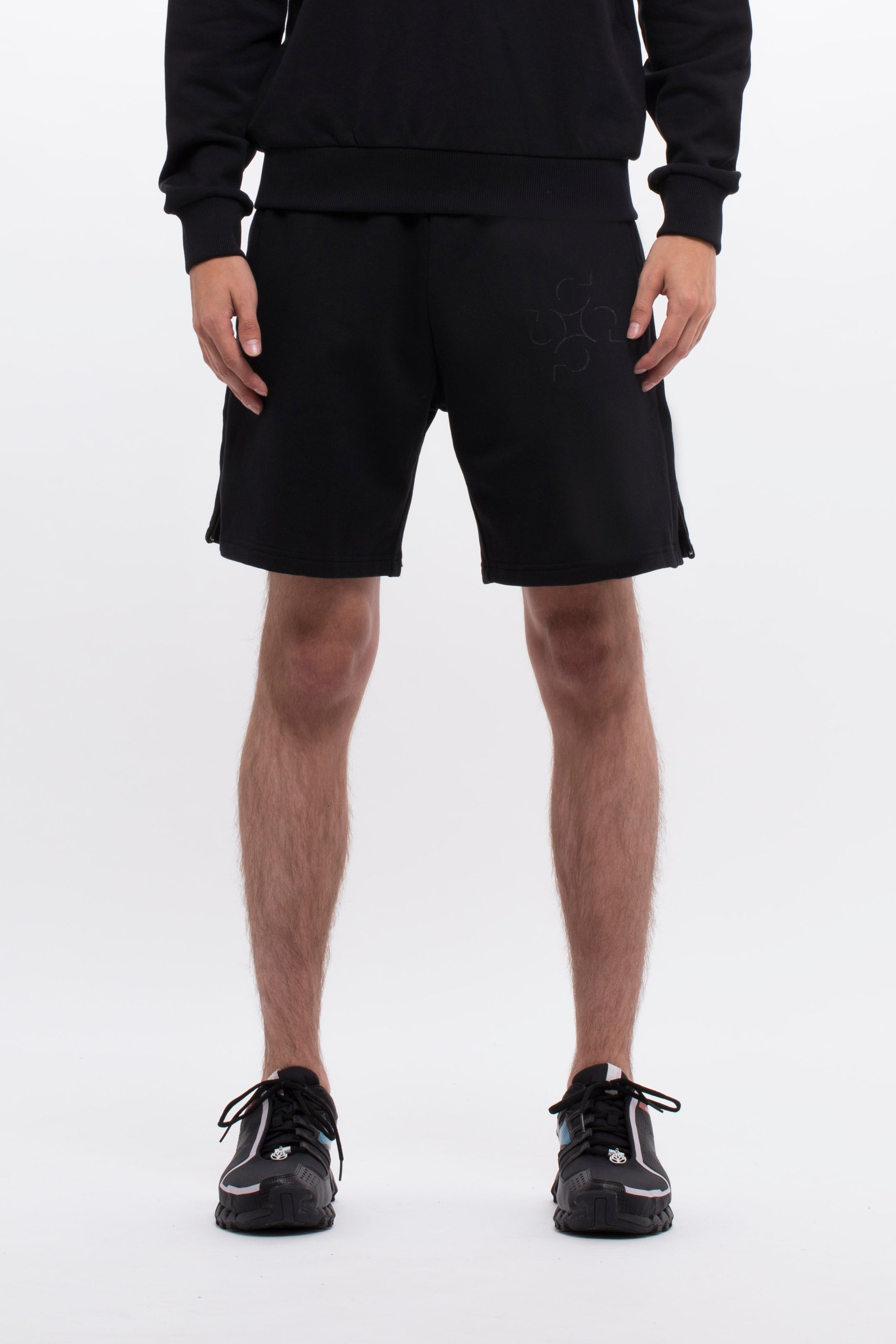 MONOGRAM LOUNGE SHORTS - BLACK