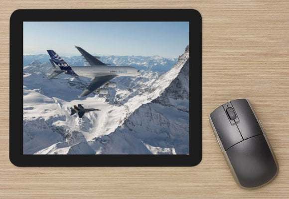 Airbus A380 over Alps aircraft MOUSE MAT