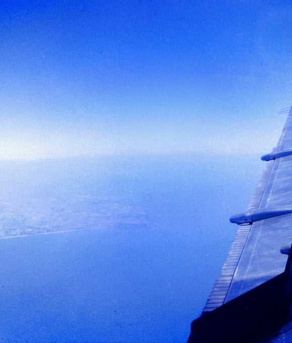 AUTAIR International Airways HS 748 G-ATMI WING in flight - ORIGINAL SLIDE