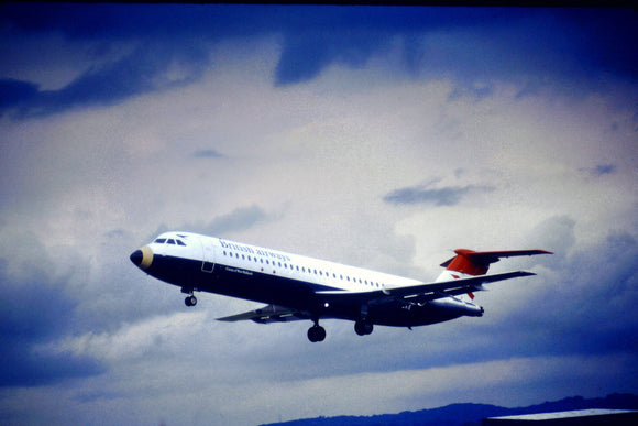 British Airways BAC 111 500 'KE' landing Edinburgh - ORIGINAL SLIDE