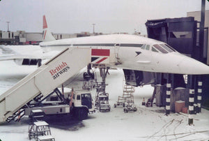 British Airways Concorde G-BOAC in snow terminal 3 LHR -  6 x 4 Print BA033