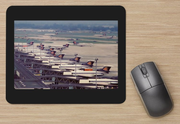 BEA British European Airways HS Trident aircraft at T1 Heathrow MOUSE MAT