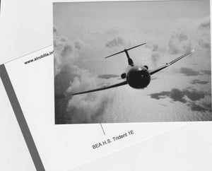 BEA Trident in flight - Black/White Postcard