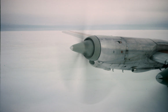 BEA Vickers Vanguard engines from passenger seat in flight  - ORIGINAL SLIDE