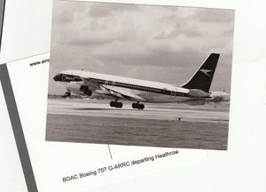BOAC Boeing 707 G-ARRC departing Heathrow Airport Postcard