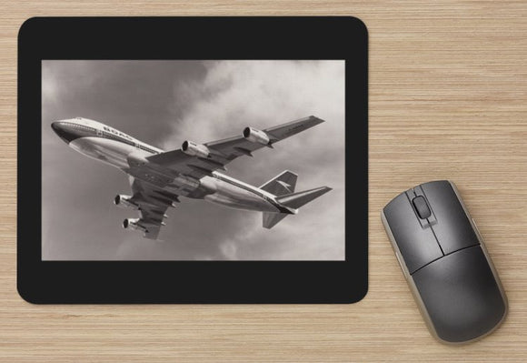 BOAC Boeing 747 departing Heathrow BW aircraft MOUSE MAT