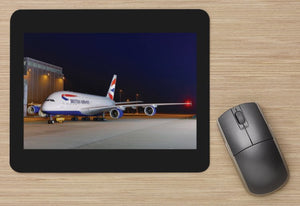 British Airways Airbus A380 at Heathrow aircraft MOUSE MAT
