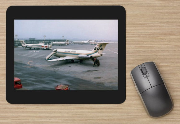 BUA British United Airways  BAC 111 x4 at LGW - MOUSE MAT