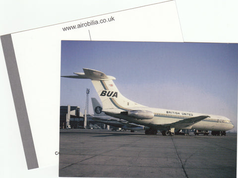 BUA British United Airways Vickers VC10 G-ASIW Luton Airport Postcard