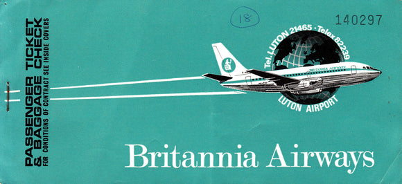 BRITANNIA AIRWAYS (USED) PASSENGE TICKET WILDENRATH-LUTON