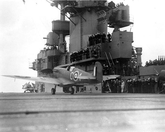 RAF Spitfire taking off from USS Wasp - 6 x 4 Print RAF002