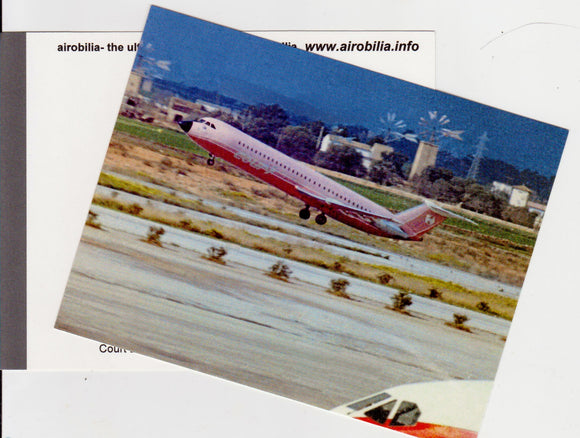 COURT LINE  Postcard (unused) BAC 111 G-AXMF (Pink) departing Palma Airport
