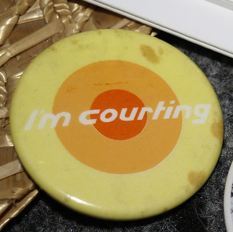 COURT LINE  ' I'm courting ' metal badge