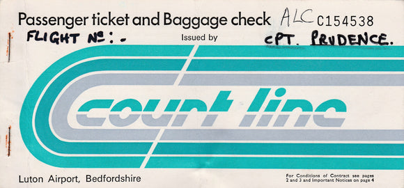 COURT LINE  Passenger Ticket (used) Luton Alicante Luton