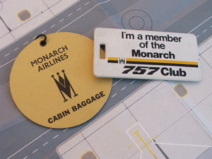 Monarch Airlines Cabin Baggage Tag and 757 Club Heavy Plastic Tag