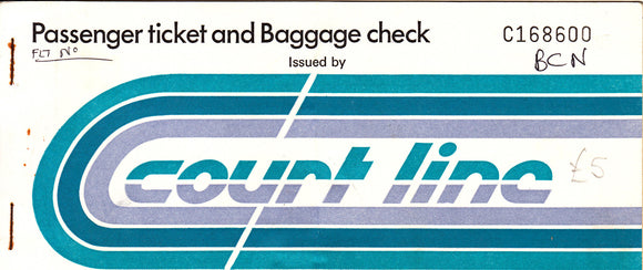 COURT LINE AVIATION BAC 111 PASSENGER TICKET (USED) LTN-BCN-LTN